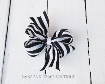 Baby Girl Bow Black and White Bow Stipe Hair Bow Toddler Hair Bow Girls Hair Bow Headband Baby Bow