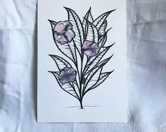 Hidey Cat Plant Flowers Mixed Media Art Painting Illustration 5 x 7 Giclee Print