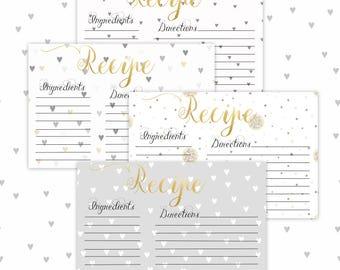 Recipe Cards, Printable-Set of 4
