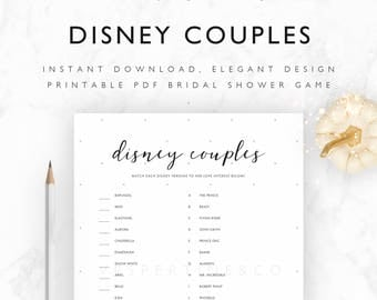 Bridal Shower Games Disney Printable - Disney Couples Match Up - Disney Bridal Shower Games - Minimalist, Pale Stars - A4, US Letter, 5x7