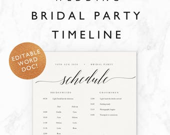 Wedding timeline etsy emilie wedding timeline template bridal party wedding morning getting ready schedule half spiritdancerdesigns Image collections