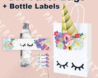 Unicorn Favor Bags & Bottle Label/ Unicorn Birthday/ Unicorn Party Supplies/ Unicorn Goodie Bags/ Unicorn Candy Bag/ Gift/ Goody/ Treat Bags