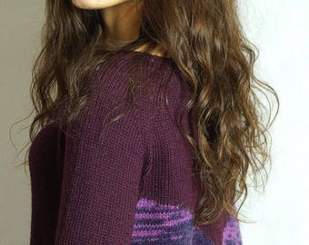 Eggplant blouse with colorful back