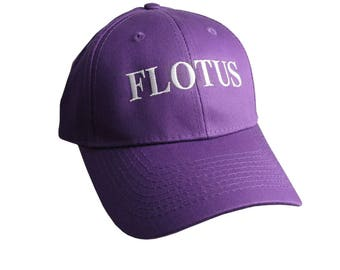 FLOTUS Typography First Lady of the United States Melania Trump Style White Embroidery on an Adjustable Structured Purple Baseball Cap