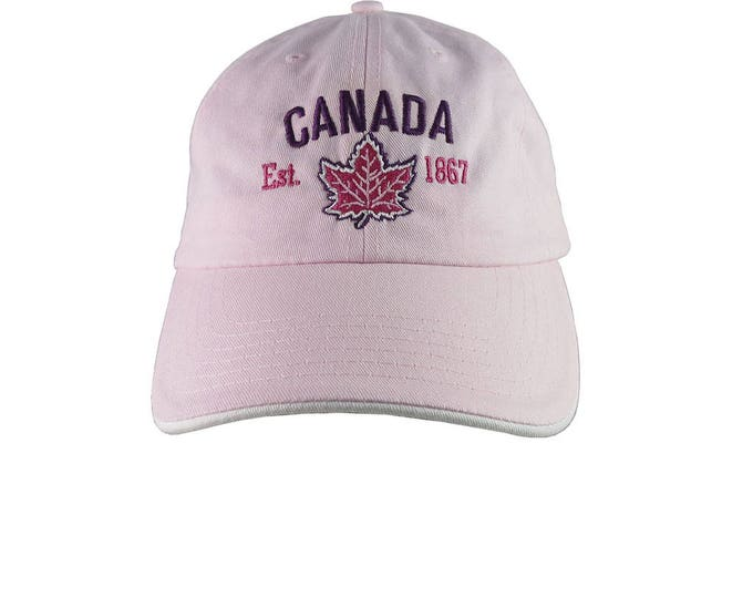 Canada Established 1867 Retro Style Maple Leaf Purple and Fuchsia Embroidery on an Adjustable Pink Unstructured Baseball Cap