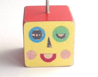 Mini Yellow Block Head Photo Holder