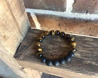 Children's Tiger Eye Gemstone Essential Oil Diffuser Bracelet