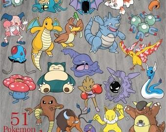 51 Pokemon Bundle Collection 1, Pokemon svg, Bundle svg, Eps, Dxf,Svg,Png, Instant download, T-shirt Design, Vector Files, Pokemon Clipart,