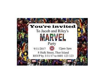 Marvel inspired birthday invitation, Birthday party invitation, Custom invite, pritable invitation, 4x6in Digital file