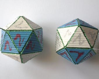 "2 pieces-Christmas Ball ""icosahedron"" with handmade toothpicks"