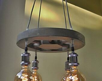 vintage wagon wheel chandelier pendant lamp led edison reclaimed lighting led light - Wagon Wheel Chandelier