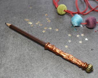 Pencil - Brown wand with gold bead