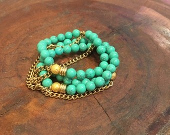 Teal green Magnesite Beaded bracelet.  Stacked bracelet.