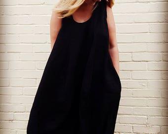 Black Linen Maxi Bubble dress