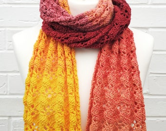 Yellow and Red Lace Scarf, Lace Crochet Knit Scarf, Yellow to Red Gradient, Knitted Lace All Seasons Long Scarf, Summer Ladies Accessories