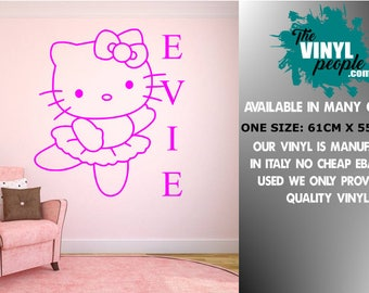 Hello kitty wall decal hello kitty wall sticker girls room bedroom personalized gift nursery room home decor