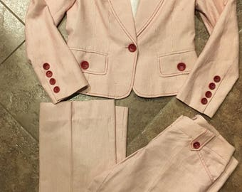 Vintage Red and White Suit, Suit, Suit and Pants, 80s Suit, Business Suit, Office Suit, Vintage Office Wear