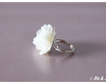 Ring made of chiffon cream & silver #0929