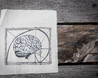Brainmetrie, brain, golden section, sacred geometry, patch, unique, tshirt, alternative clothes, handmade