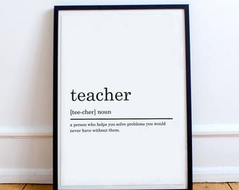 Teacher Definition Print, Funny Definition Print, Gift for Teacher, Teacher print, Teacher gift, Printable Poster, DIGITAL DOWNLOAD