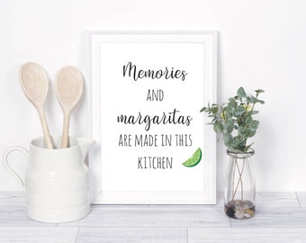 margarita quote, margarita print, kitchen printable, kitchen wall art, kitchen decor, kitchen print, kitchen memories, kitchen wall decor