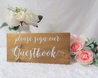 Please Sign Our Guestbook Sign. Guestbook Sign. Wedding Guest Book Sign. Wooden Guest Book Sign.  Rustic Wooden Wedding Sign. Wedding Signs.