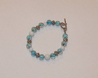Glass and metal bead bracelet