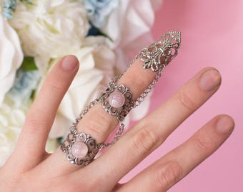 Angel Claw - Fantasy claw ring with two rings, filigree and chains, Light pink glitter stone, Gift for her, Valentine's Day gift
