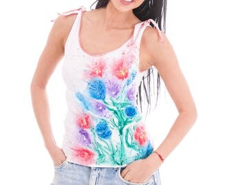 White hand painted cotton vest for women with blue, pink and purple flowers