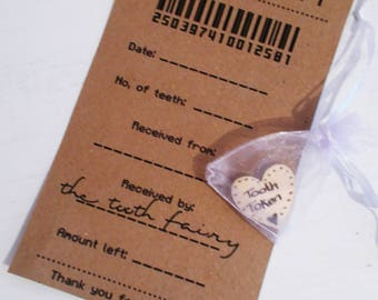 Tooth fairy receipt - tooth fairy note - tooth fairy token - fun tooth receipt - first tooth gift - tooth fairy letter - fairy gift
