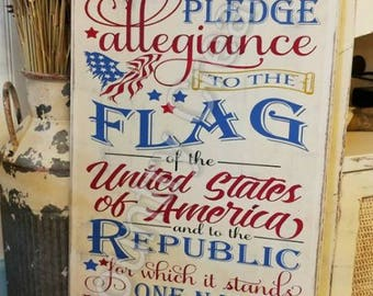 Pledge of Allegiance Flag Wood Sign, Rustic United States Flag, Fourth of July, Home Decor Wooden Sign, American Flag Wood Sign, Labor day