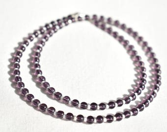 Purple and White Glass Necklace / Round Dark Purple Iridescent White Necklace / Glass Beaded Necklace / Handmade Necklace / Gift for Her