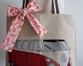 Red VW combi tote bag