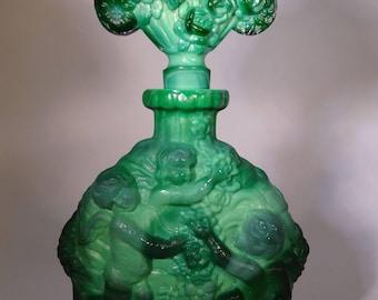 Bohemian Antique ,Czech Curt Schlevogt, circa 1930's perfume bottle, malachite crystal glass.