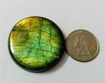 39.66 mm,Round Shape,Labradorite Cobochon/Green Flash /wire wrap stone/Super Shiny/Pendant Cabochon/Semi Precious Gemstone/silverJewl
