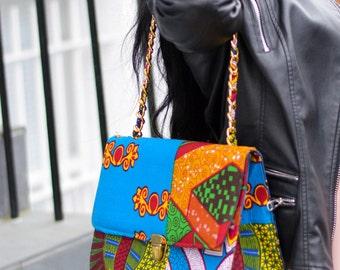 ankara purse, gold chain handles