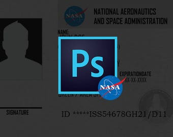 Adobe Photoshop NASA ID-Card template