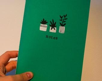 Handmade A5 geometric plants notebook, personalised