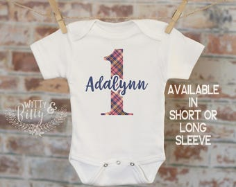 First Birthday Navy Pink Plaid Customized Onesie®, Buffalo Plaid Birthday, Custom Baby Outfit, Personalized Onesie, Boho Baby Clothes - 428A