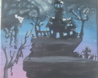 House on the Hill Glow in the Dark Watercolor