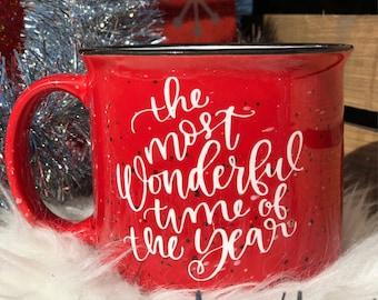 Christmas Mug, Holiday Mug, Ceramic Campfire mug, Red Mug, Glitter, Sale, Gift, For Her, Christmas Gift, Cozy Gifts,