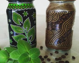 Coffee jar in point-to-point style / Баночка для кофе в стиле point-to-point
