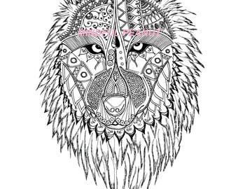 Wolf to colour out Mandala style