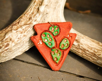 Arrowhead Prickly Pear Green Earrings | Leather Earrings | Birthday Gift | Anniversary | Gifts under 25 | Handmade | Gifts for Her