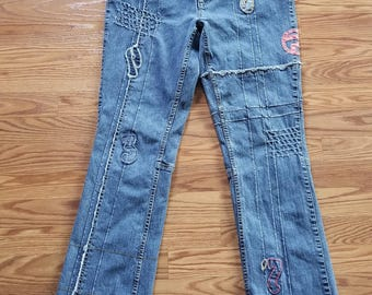 Pepe Jeans Vintage 90's Patches Thing Slip Women's Jeans Size 8/10