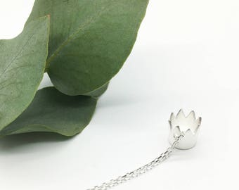 Silver Crown Necklace