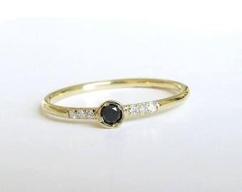 Gold Black Diamond Ring, Wedding Ring, Engagement Black Engagement Band, Black Diamonds, Yellow Solid Gold 14k, Anniversary Ring