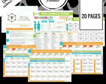 80 Day Fitness Planner | 1,500 - 1,799 Calorie Range | Printable Meal Planner | Meal Prep, Meal Plan, Grocery List & More!