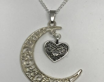 Silver moon heart necklace