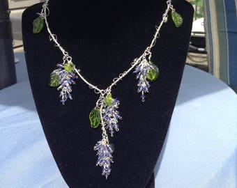 I love wine wire wrapped crystal grapevine necklace
